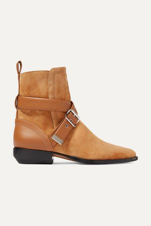Rylee Suede And Leather Ankle Boots - Tan