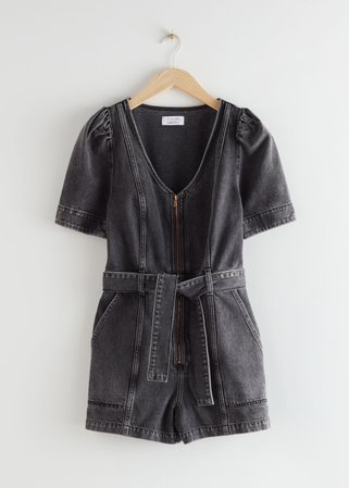 Puff Sleeve Denim Romper - Black - Jumpsuits & Playsuits - & Other Stories