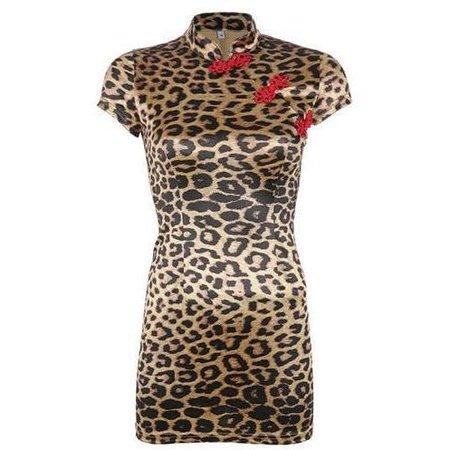 Leopard Chinese-Style Mini Dress - Own Saviour