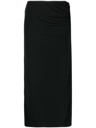 Black Helmut Lang fitted midi skirt - Farfetch