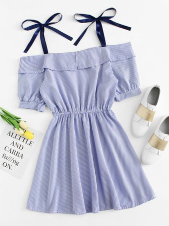 Open Shoulder Striped Dress