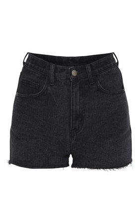 PRETTYLITTLETHING Washed Black Raw Hem Hotpants   PrettyLittleThing USA