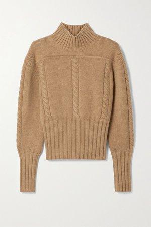 Sand Maude cable-knit cashmere turtleneck sweater   Khaite   NET-A-PORTER