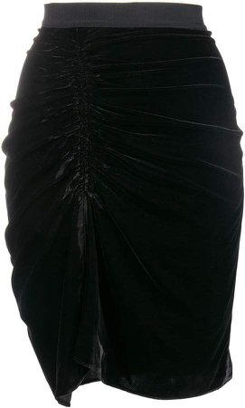 ruched front velvet skirt