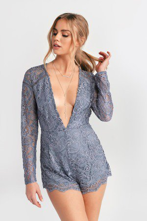 Grey Romper - Open Back Romper - Grey Lace Romper - $26 | Tobi US