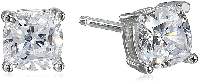 Amazon.com: Platinum Plated Sterling Silver Cushion Cut Cubic Zirconia Stud Earrings (5mm): Jewelry