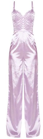 Lilac Satin Quilted Bust Wide Leg Jumpsuit