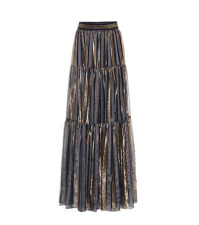 Metallic silk maxi skirt