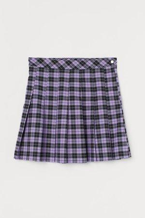 Pleated Skirt - Purple/black plaid - Ladies | H&M US