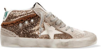 Mid Star Distressed Glittered Leather And Suede Sneakers
