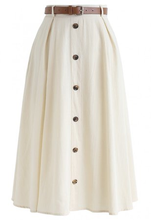 Buttoned Belted A-Line Midi Skirt in Cream - Retro, Indie and Unique Fashion