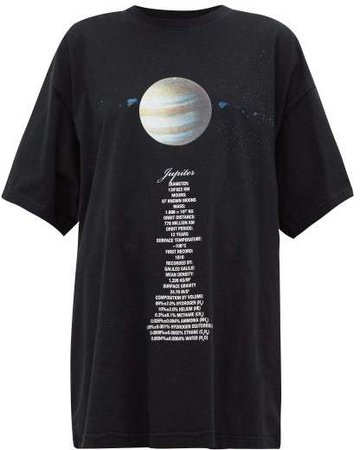 Jupiter Oversized Cotton Jersey T Shirt - Womens - Black Multi