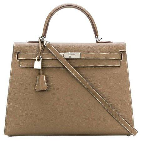 Hermes Grey Etoupe Kelly Epsom 35cm For Sale at 1stdibs