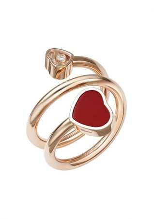 Chopard | HAPPY HEARTS TWIST RING - 18K ROSE GOLD, DIAMOND & RED STONE | @82a082-5800