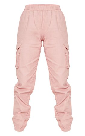 Petite Dusty Pink Pocket Detail Cargo Trousers   PrettyLittleThing