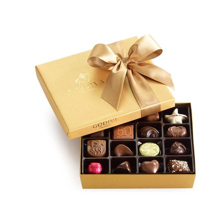 Christmas Assorted Chocolate Gold Gift Box, Classic Ribbon, 19 pc. | GODIVA
