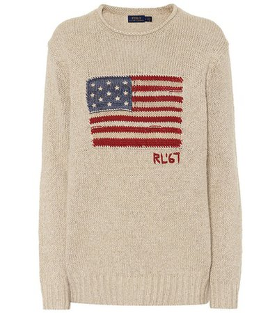 Flag cotton and linen-blend sweater