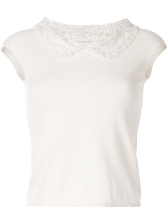 CHANEL TEXTURED COLLAR TOP - WHITE