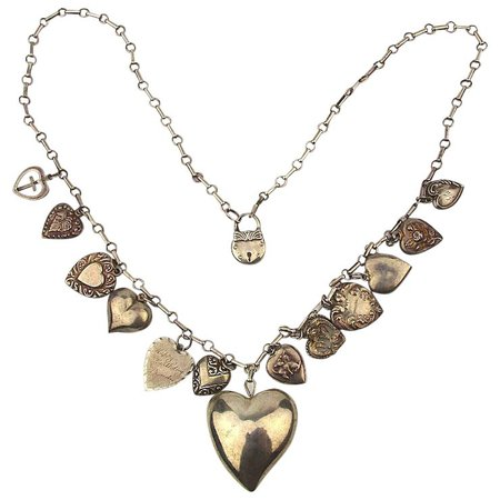 Victorian Puffy Hearts Sterling Silver Necklace - 14 Charms on Long : GreatVintageStuff | Ruby Lane