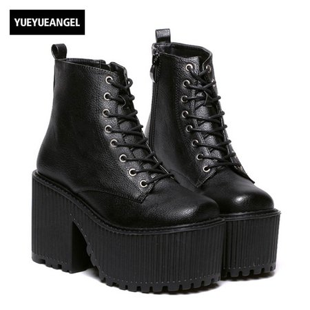 Bloco de Moda Das Mulheres Novas do punk Gótico Plataforma Saltos Robustos Sapatos Para Mulher Zíper Bombas Sapatos Lace Up Botas Cosplay Preto em Botas tornozelo de Sapatos no AliExpress.com | Alibaba Group
