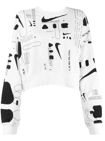 White Nike Cropped Printed Sweater | Farfetch.com