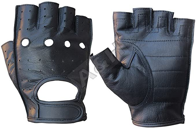 Amazon.com: A&H Apparel Leather Motorcycle Glove Genuine Cowhide Fingerless Leather Driving Gloves (XXX-Large): Automotive