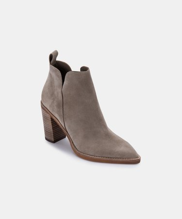 SHANON BOOTIES IN DK TAUPE SUEDE – Dolce Vita