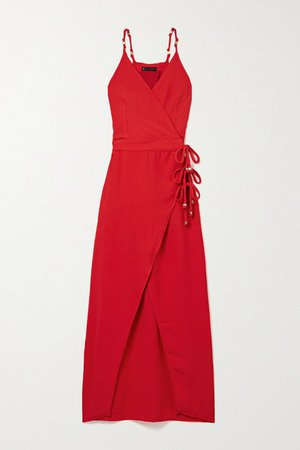 Cyndi Bead-embellished Voile Wrap Dress - Red