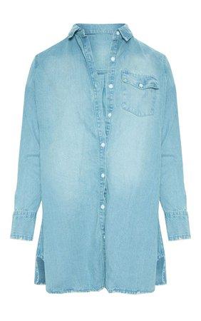 Plus Blue Oversized Denim Shirt Dress | PrettyLittleThing