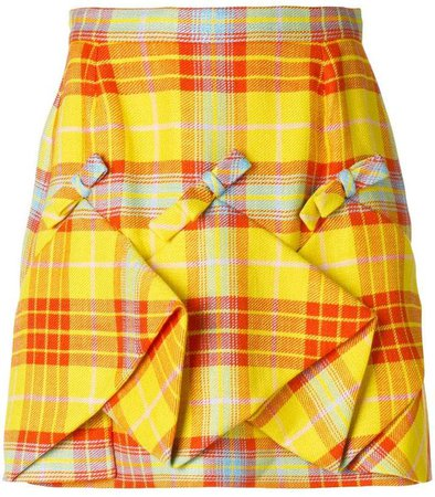 plaid ruched skirt