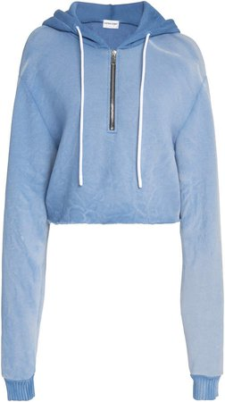 Brooklyn Cropped Cotton Hooded Sweatshirt
