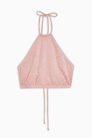 IDOL Pink Towelling Halter Neck Crop Top | Topshop