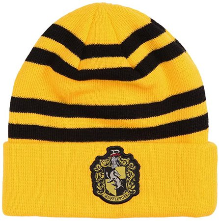 Amazon.com: Harry Potter Hufflepuff Crest Beanie: Clothing