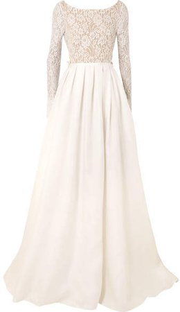 Rime Arodaky - Avery Corded Lace And Silk-gazar Gown - White