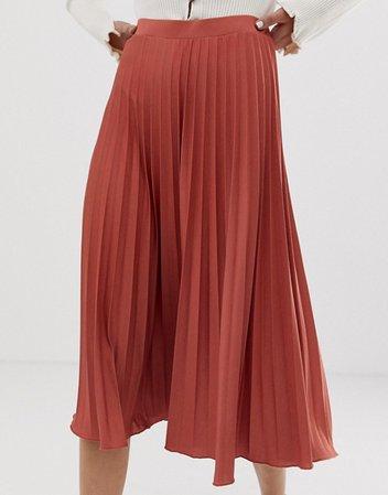 Falda midi de punto de crepé con diseño plisado de ASOS DESIGN | ASOS