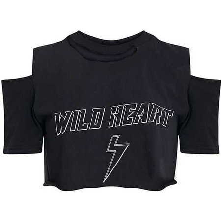 WILD HEART Black Ripped Crop T Shirt