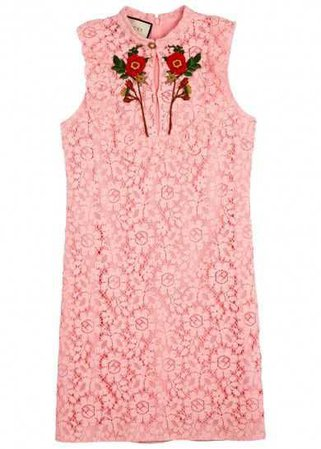Gucci pink poppy-Embroidered Mini Dress