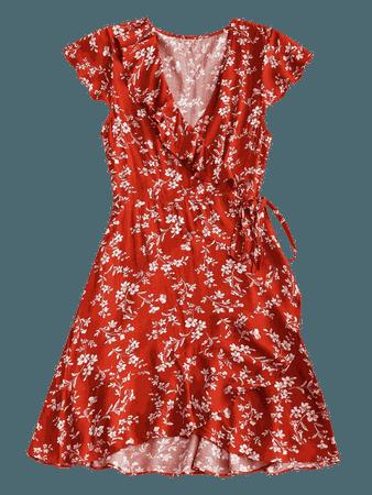 Tiny Floral Ruffle Mini Wrap Dress BRICK-RED: Mini Dresses M   ZAFUL