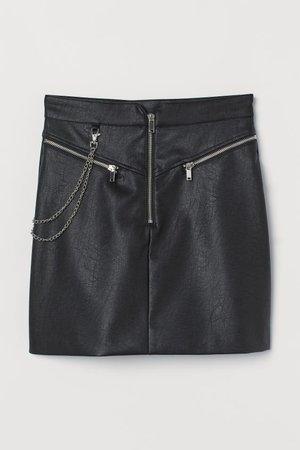 Skirt with Metal Chain - Black - Ladies | H&M US