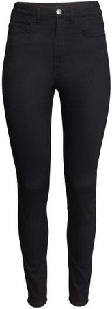 Slim-fit Pants High waist - Black