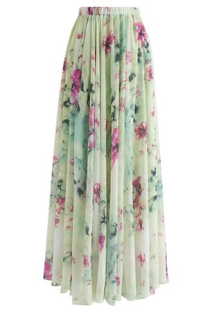 Chicwish Floral and Frill Maxi Skirt