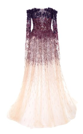 Floral and Sequin Ombre Gown by Pamella Roland | Moda Operandi