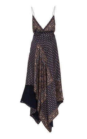 Jonathan Simkhai Asymmetric Printed Satin Wrap Dress