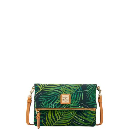 Dark green crossbody with green ferns