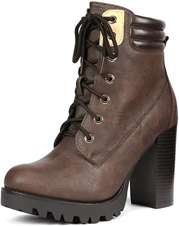 Amazon.com | DREAM PAIRS Women's Earth Brown Chunky Heel Ankle Bootie Size 9 B(M) US | Ankle & Bootie