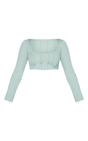Sage Green Exposed Seam Long Sleeve Crop Top   PrettyLittleThing USA