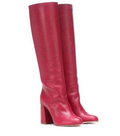 RED (V) leather boots
