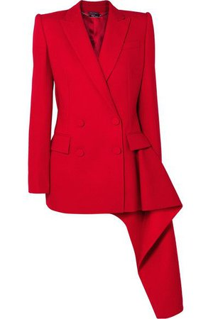 Alexander McQueen - Asymmetric Double-breasted Wool-blend Blazer - Red ($3475)
