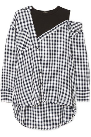 Maje | Layered gingham crepe and cotton-blend jersey blouse | NET-A-PORTER.COM
