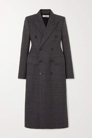 Double-breasted Prince Of Wales Checked Wool Coat - Gray